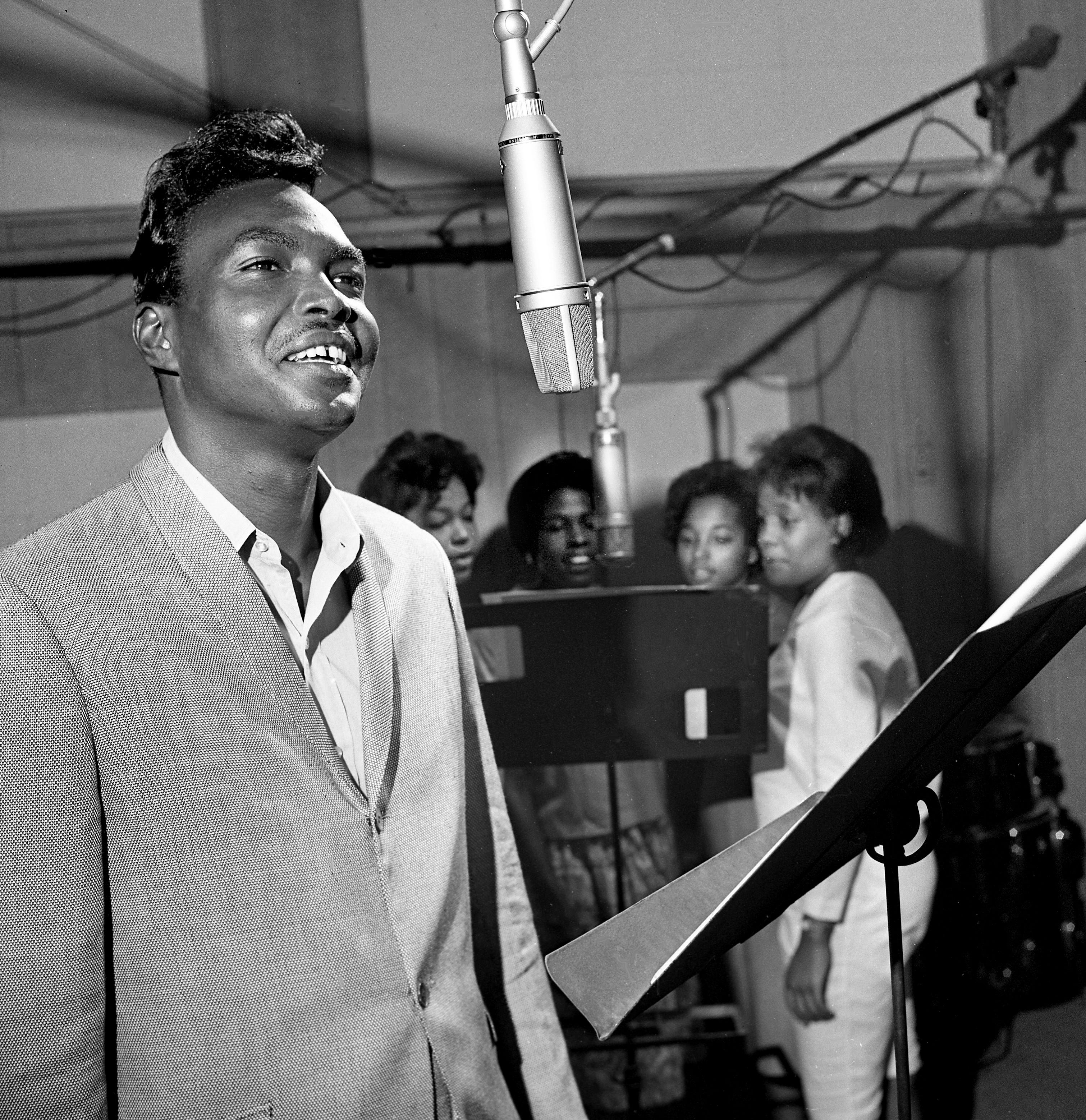 """Arthur Alexander, a 23-year-old ex-bellhop from Sheffield, Ala., is in a recording session at Bradley's Studio June 27, 1963. Alexander walked into the offices of Dot Records in Nashville January of 1962 with a dub tape of """"You Better Move On,"""" now a smash hit."""
