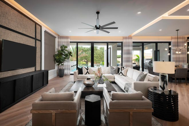 Seagate Development Group's furnished Monterey model in Isola Bella at Talis Park showcases an interior created by Theory Design, an award-winning residential and commercial interior design firm.