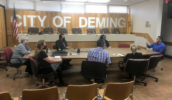 New Mexico Lt. Gov. Howie Morales (far right) sat down with Deming Public Schools administrators during a roundtable discussion that also included city and county officials on how to improve relations during the COVID-19 pandemic.