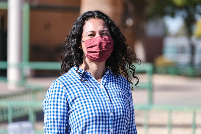 Former Rep. Xochitl Torres Small speaks outside Mayfield High School in Las Cruces on Tuesday, Nov. 3, 2020.