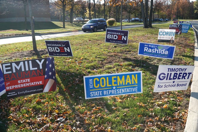 Campaign signs outside the Westland Library were a number of precincts voted on Nov. 3, 2020.