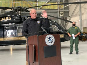Mark Morgan, the acting commissioner for Customs and Border Protection, touted President Donald Trump's border policies during a press conference at Davis-Monthan Air Force Base in Tucson on Nov.  2, 2020.