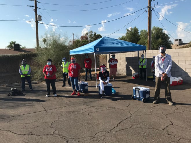 Unite Here Local 11, a labor union that represents 33,000 hotel and food service workers in California and Arizona, canvassed northwest Phoenix neighborhoods on Election Day, Nov. 3, 2020.