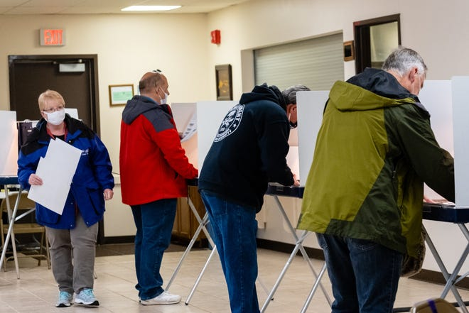 Marysville voters cast their ballots at Marysville's precinct 1 on Election Day, Tuesday, Nov. 3, 2020, at the Marysville Masonic Temple.