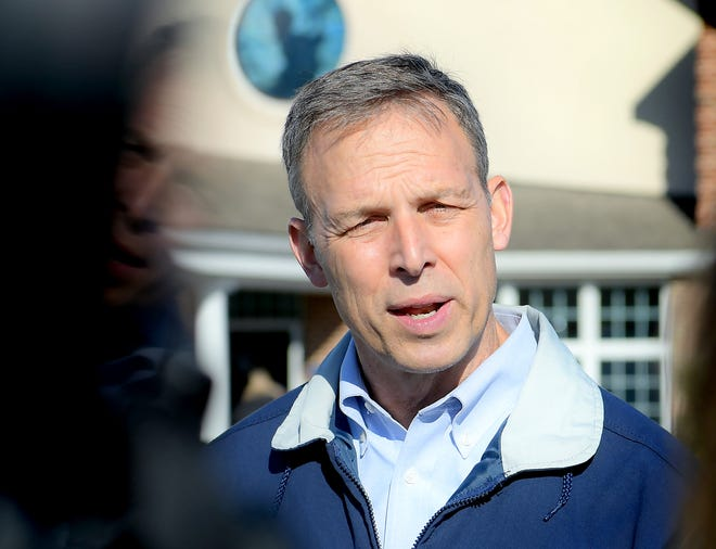 Incumbent congressman Scott Perry talks to the media while before voting at the polls at Monaghan Presbyterian Church in Dillsburg Tuesday, Nov. 3, 2020. Perry is defending his seat against Pennsylvania Auditor General Eugene DePasquale. Bill Kalina photo