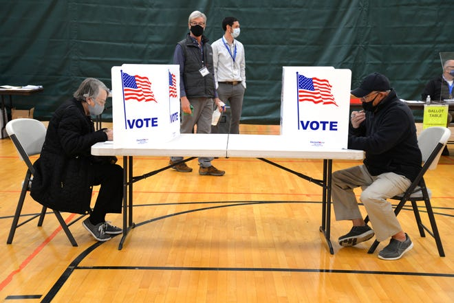 Voters in Ward 3 vote on Election Day on Nov. 3, 2020 at the Gypsy Hill Park Gym in Staunton.