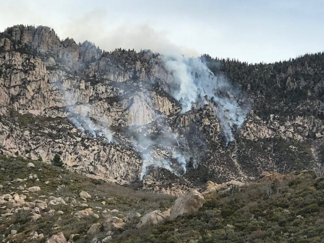 An image of the Spirit Creek Fire that started on Nov. 2, 2020 in the Pine Valley District of the Dixie National Forest shows the steep terrain firefighters are tasked with navigating.