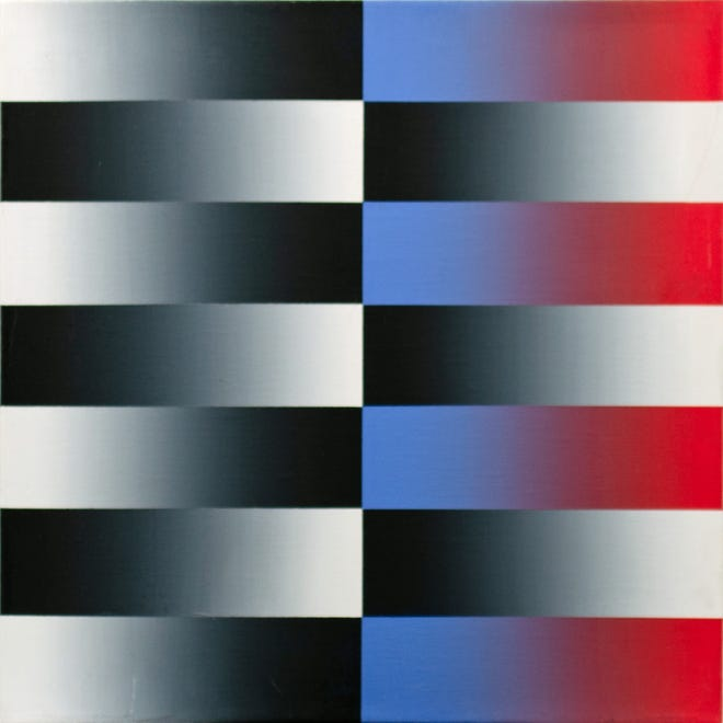 Venvi Gallery is showing Ray Burggraf: The Early Work exhibition, opening Nov. 6-Jan- 10. Back in 1970, after he came to Florida from UC Berkeley, his works were exclusively geometric abstractions. Shown here is: Flag Art Brushed Acrylic On Canvas 15x15 Inches 1975.