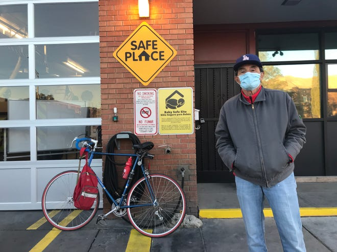 Henry Monreal, 75, rode his bike to a fire station polling place in Five Points on Election Day, Nov. 3, 2020. The retired truck driver and smelter worker said the COVID-19 pandemic was his No. 1 issue. He voted for Joe Biden.