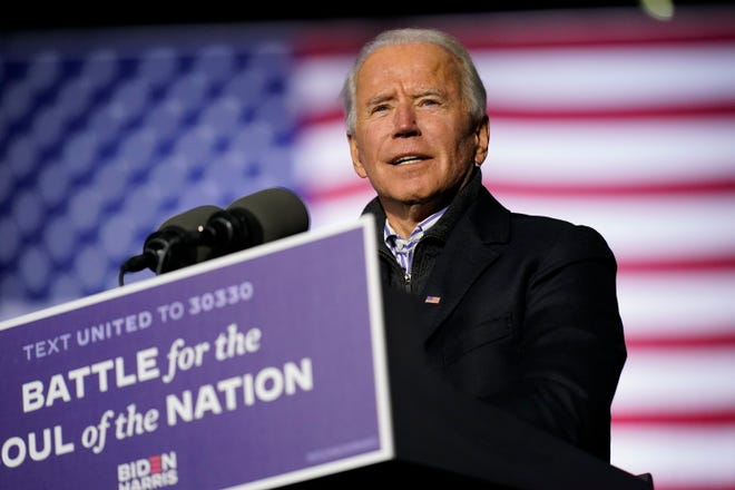 Democratic presidential candidate former Vice President Joe Biden speaks during a drive-in rally at Heinz Field, Monday, Nov. 2, 2020, in Pittsburgh.
