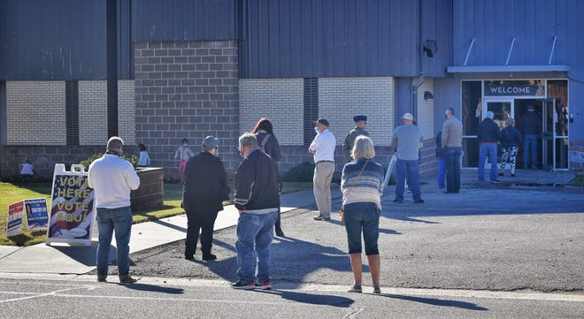 A line of voters reaches to the street at First Baptist Church at Sheppard Tuesday morning. #Election #Vote