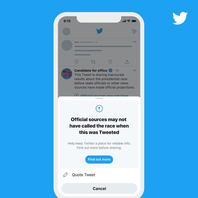 Twitter says it will take additional steps to provide context when election results have not been officially called.