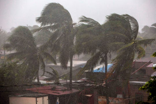 Hurricane Eta makes landfall in Bilwi, Puerto Cabezas, Nicaragua, on Tuesday. The storm lashed the north coast of Nicaragua with heavy rain and winds of more than 130 mph.