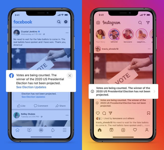 If a presidential candidate or party declares premature victory before the race is called by major media outlets above, Facebook will add more specific information in the labels on candidate posts, it says.
