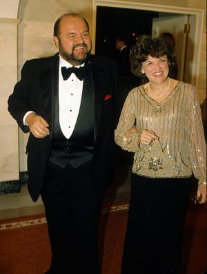 Actor Dom Deluise and his wife Carol Arthur arrive at the White House as guests for the State Dinner in honor of the President of Austria, Rudolf Kirchschlager, on Feb. 28, 1984.