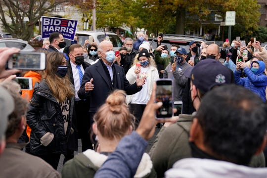 Democratic presidential candidate former Vice President Joe Biden speaks with supporters as he visits Hank's Hoagies in Scranton, Pa., on Election Day, Tuesday, Nov. 3, 2020.