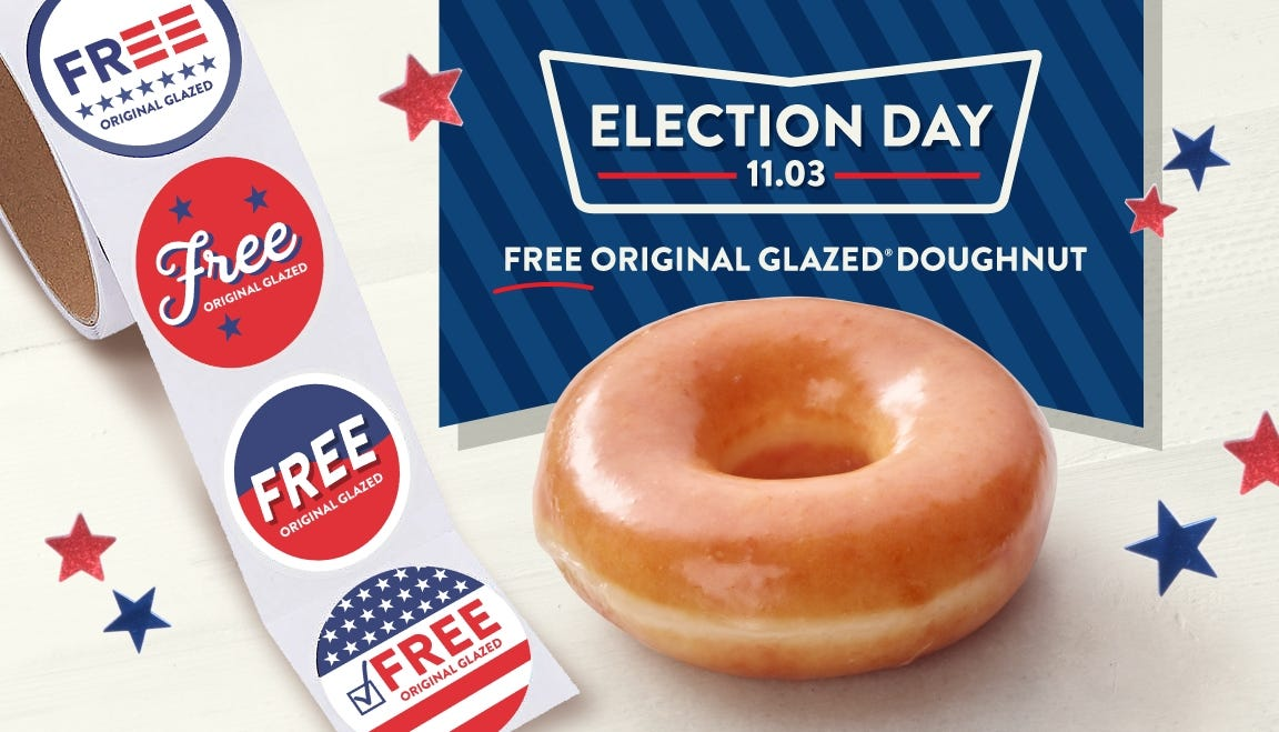 Free food for Election Day: Get freebies at McDonald's, Wendy's, Krispy Kreme and National Sandwich Day deals Tuesday