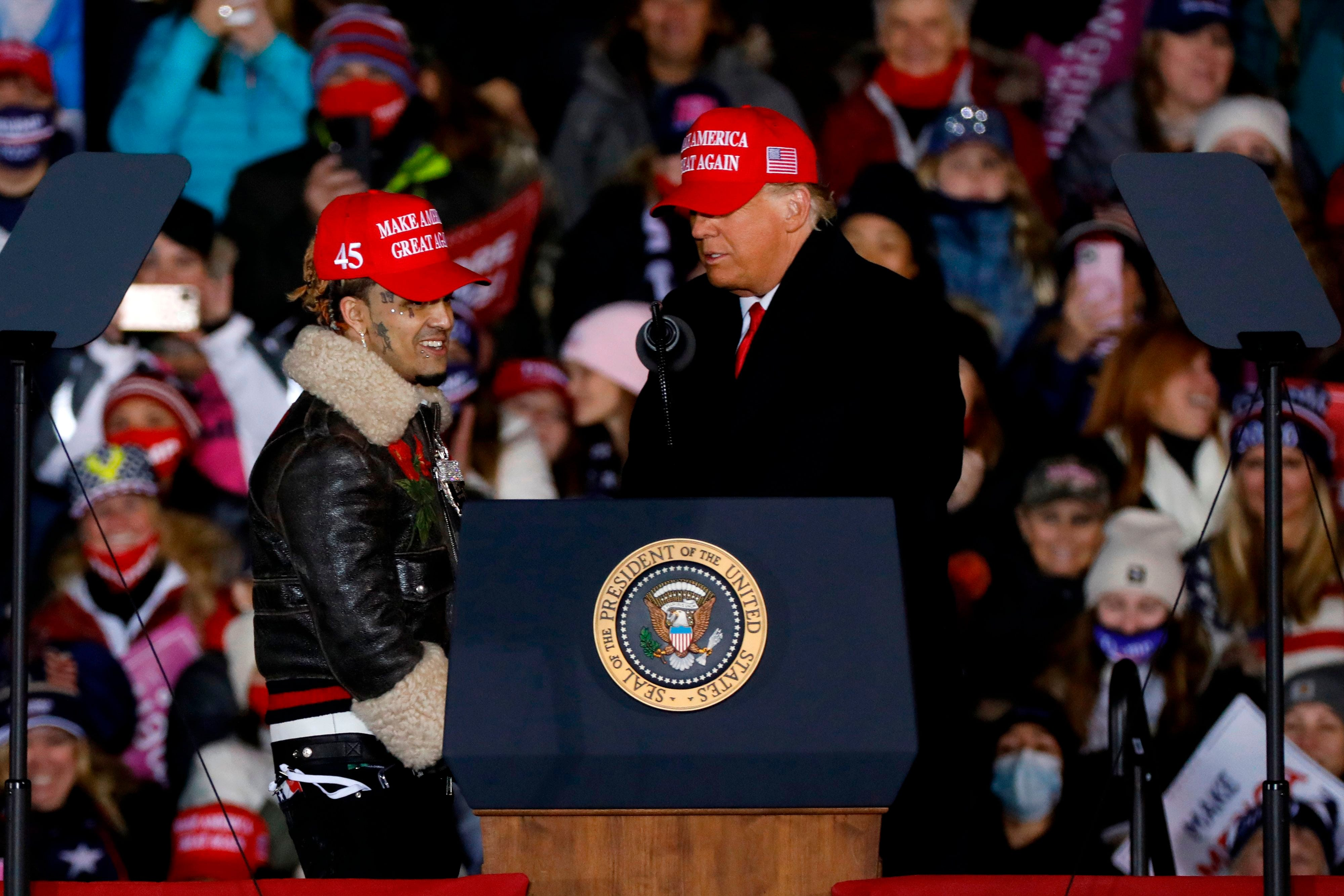 Lil Pump joins Trump at rally, John Legend campaigns for Biden, more stars make final election pleas