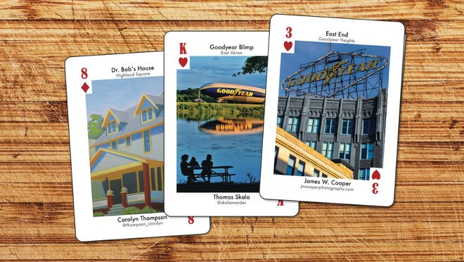 """These are three of the cards that appear in """"Akron on Deck,"""" a set of playing cards designed by more than 50 local artists. The cards won't be ready until Nov. 25, but advance orders are being taken now."""