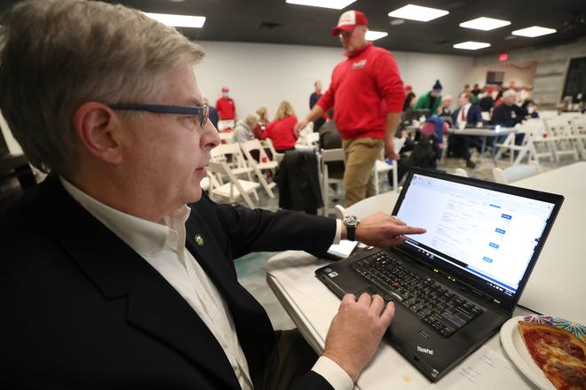 Craig Shubert, Hudson Mayor, checks election returns during a watch party at the Hudson Republican Victory Center on Tuesday, Nov. 3, 2020 in Hudson, Ohio.  [Mike Cardew/Beacon Journal]