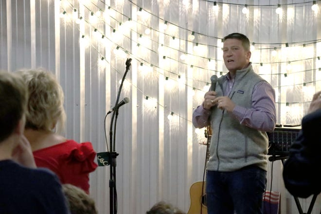 Ronny Jackson thanks his supports as his watch party turns into a victory party in the race for the to represent Texas' 13th Congressional District in the United States House of Representatives.  [Neil Starkey / For the Amarillo Globe-News]