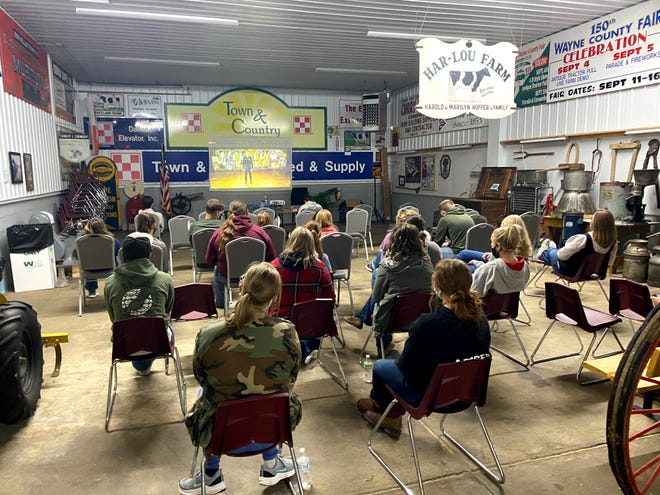 Northwestern and Smithville FFA members watch the virtual national convention at the Buckeye Agricultural Museum in Wooster.