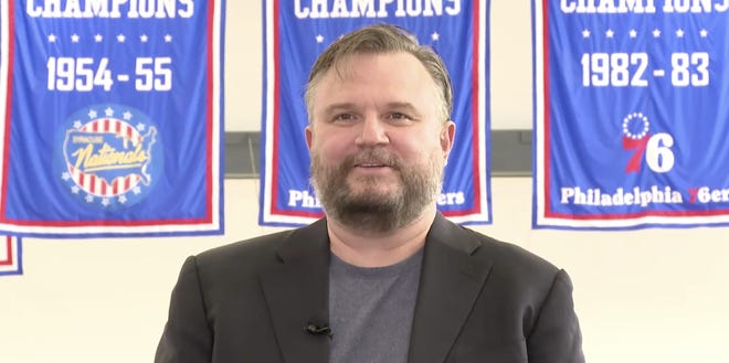 Sixers president of basketball operations Daryl Morey answers a question during Monday's introductory press conference.