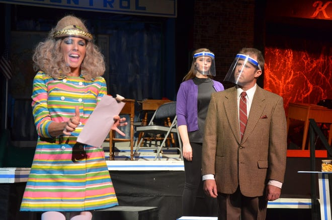 """CONTROL Agent 86 Maxwell Smart (right, played by Ryan Bailey), is assigned to protect Princess Ingrid (left, played by Alisa Hinton) while she visits from Scandinavia during the Brownwood Lyric Theatre's production of """"Get Smart."""" In the background is Agent 99, played by Cassia Rose. A four-performance run of the one-act comedy opens at 7:30 p.m. Friday and continues with additional shows at 2:30 p.m. Saturday and Sunday, and 7:30 p.m. Saturday. Tickets are available online at www.brownwoodlyrictheatre.com. Social distancing and other COVID-19 prevention protocols will be observed, so seating is limited."""