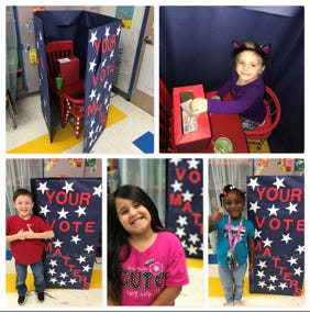 """On Tuesday, Nov 3, Mrs. Helzer's Kindergarten class at Northwest Elementary learned all about voting and the importance of making your voice heard in their """"Snack""""idential Election. The students learned that their vote matters as they voted on which snack they would have (popcorn or chips) for their snack on Friday. """"The kids loved it,"""" said Helzer. """"They were so excited that they had a say in what we had."""" As for the results, it was a close race. Popcorn was declared the winner by only one vote.Top: June Keel. Bottom, from left: Connor Edwards, Mia Salazar, Equis Hall."""