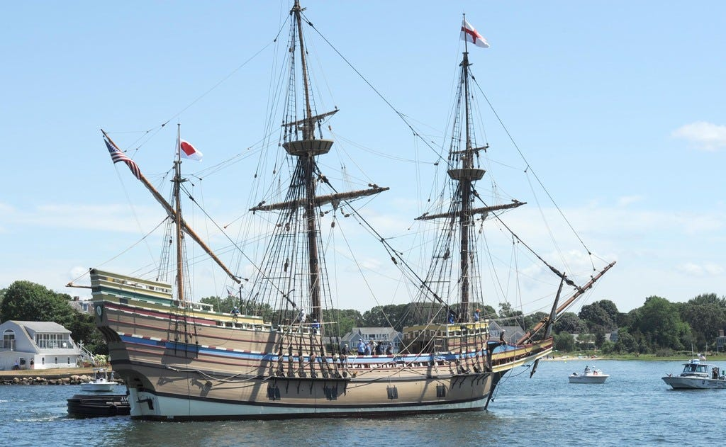 The Mayflower II is a full-scale reproduction of the vessel that sat in Provincetown Harbor 400 years ago as the Pilgrims aboard argued over how they would govern themselves.