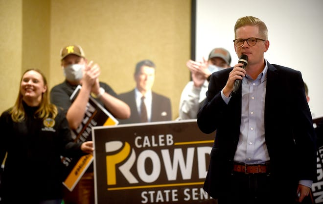Incumbent Senate Majority Leader Caleb Rowden, R-Columbia, thanks his supporters Tuesday night at the Boone County Republican election watch party at the Stoney Creek Inn after winning his race against Democratic challenger former Rep. Judy Baker.