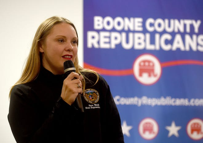 State Rep. Sara Walsh, R-Ashland, thanks her supporters Nov. 4 at the Boone County Republican election watch party at the Stoney Creek Inn after winning her race.