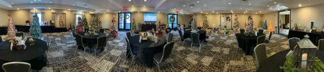 The banquet room at the Berlin Grande set up for the 2019 Christmas tree festival.