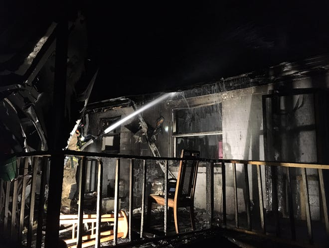 Authorities said a fire destroyed this home at 104 S. Stone St. in DeLand late Tuesday night.
