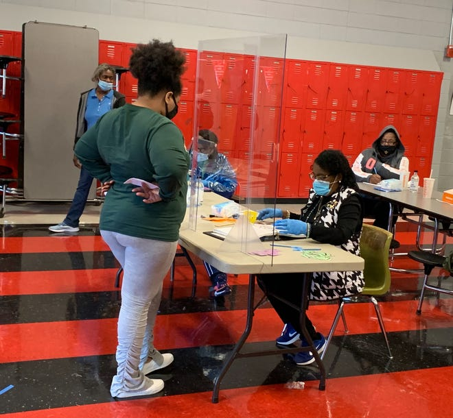 Voters cast their ballots at Donaldsonville High School at about 4:30 p.m. Election Day.