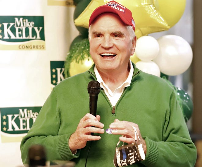 U.S. Rep. Mike Kelly, of Butler, R-16th Dist., speaks to guests at his election night event Tuesday at The 11th Frame Bar and Grille in Butler.