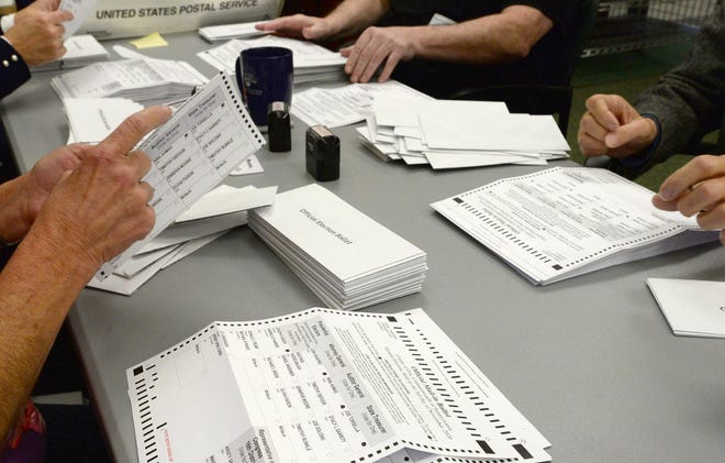 On Wednesday canvassers sort mail-in ballots before they are scanned Wednesday at the Erie County Courthouse.