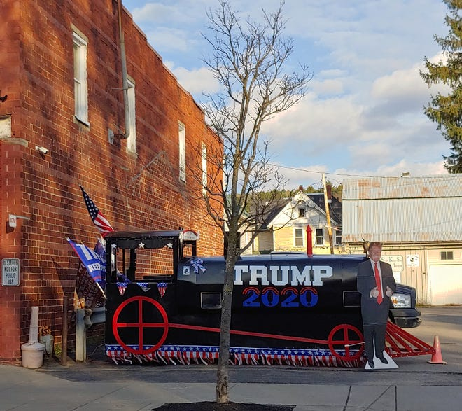 "A ""Trump Train"" sits along Main Street in the Village of Andover Tuesday. President Donald Trump captured 73% of the vote in Allegany County and 69% in Steuben County."