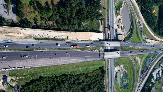 Interstate 295 crosses over North Main Street, showing the ramps and other modifications now underway on an FDOT project.