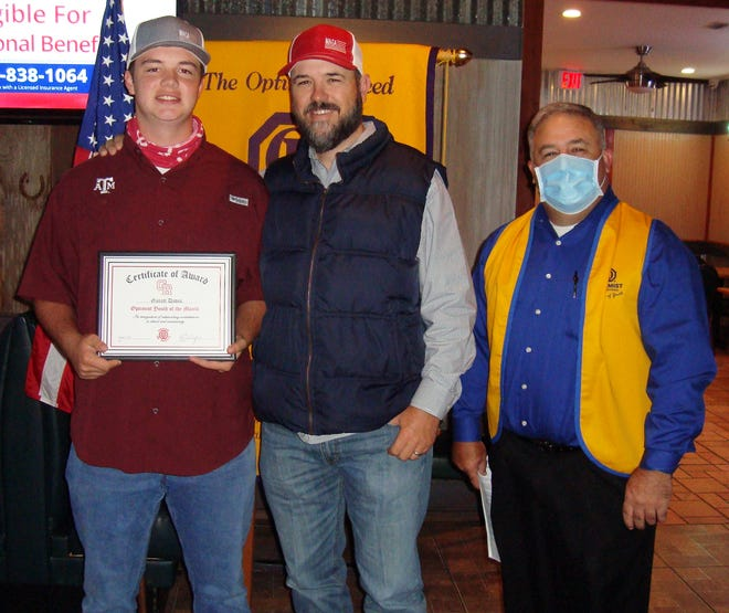 Garret Davis was recently named a student of the month by the Glen Rose Optimist Club.