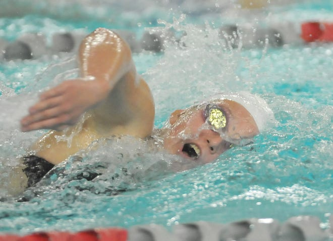 Lillian Werges of Canandaigua swims the 200 freestyle on Tuesday against Fairport.