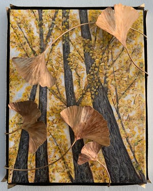 """Ginkgo Grove, Clifton Springs,"" an acrylic and brass artwork by Erica Bapst, is among the works in the ""Small Works"" exhibition at Main Street Arts in Clifton Springs. ""The ginkgo is a beautiful living fossil and is the last of its species. It is a survivor against all odds, and every leaf is unique,"" Bapst writes."