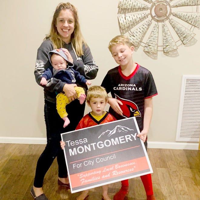 Tessa Montgomery with her three sons: Camden (2 months), Davis (3) and Liam (9).