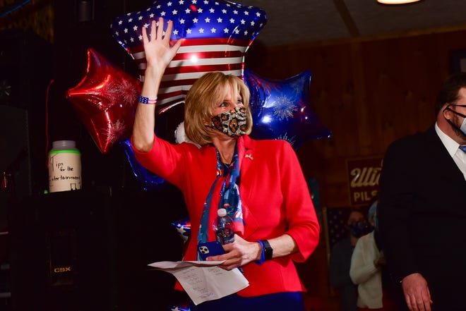 Claudia Tenney waves to supporters during her election night watch party on Nov. 3, 2020, at Nothin' Fancy Cafe in Vernon.