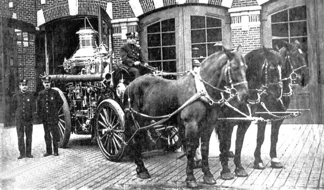 "It took three spirited, trustworthy horses to pull this four-ton steamer the Utica Fire Department purchased in 1906. The American 900 ""Metropolitan"" streamer is shown here in 1917 in front of the Central Fire Station, then on the northwest corner of Elizabeth and Burnet streets in downtown Utica (now the Oneida County State Supreme Court Law Library). The steamer remained in service until 1917 when the department's motorization program was completed."