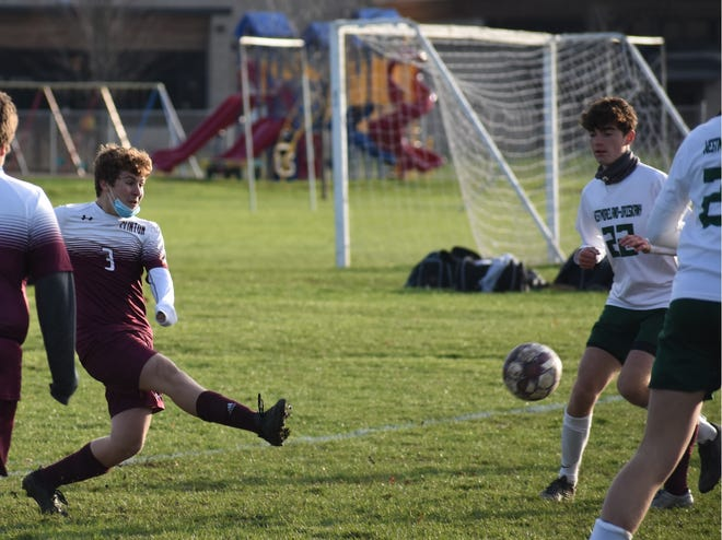 Clinton's Alec Emery takes a shot against visiting Westmoreland-Oriskany during the first half Tuesday afternoon. Clinton won 5-1.