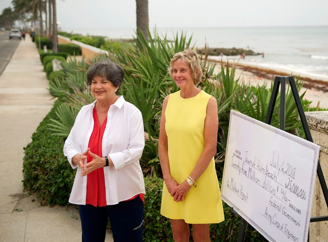 Congresswoman Lois Frankel, left, and Mayor Gail Coniglio announce a $25 million congressional appropriation for beach restoration during a press conference in July 2018 at Midtown Beach.