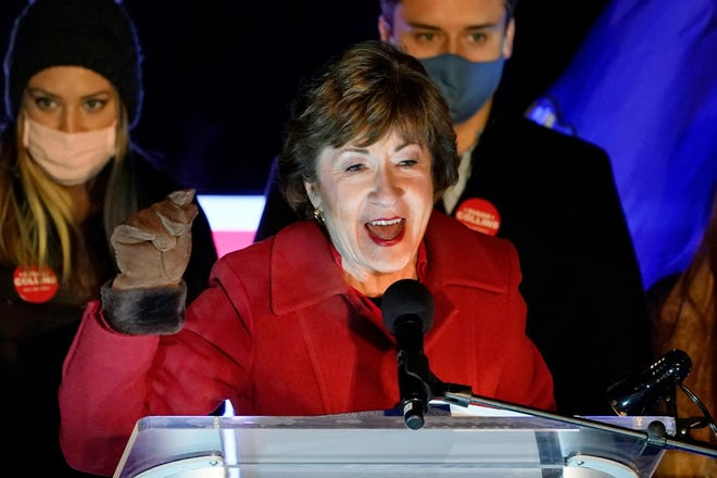 Incumbent Republican Sen. Susan Collins, R-Maine, speaks to supporters during an Election Night gathering, Tuesday, Nov. 3, 2020, in Bangor, Maine.