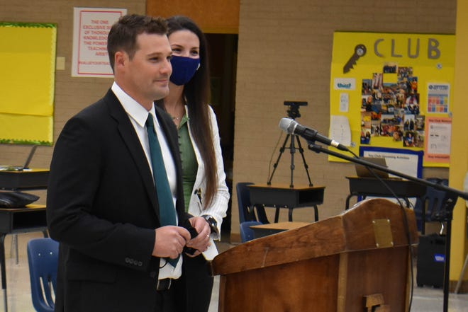Scott Girolmo (left) and his wife Ashton are introduced at a Prince George School Board meeting on November 2 2020.