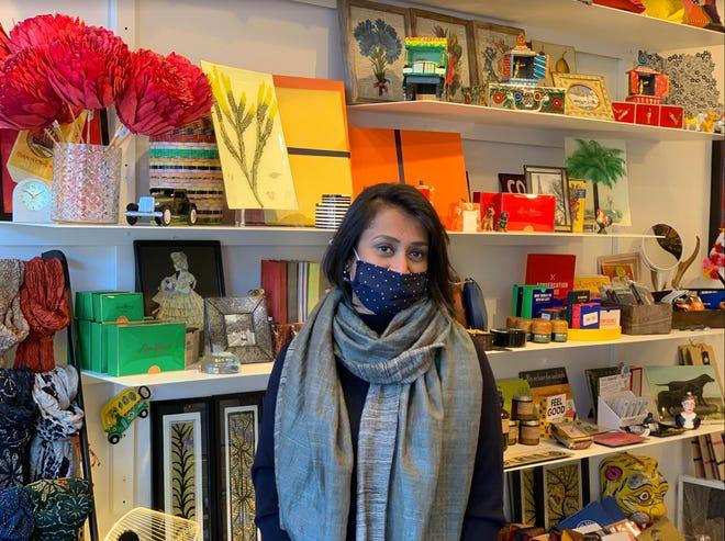 Metalworks and jewelry designer Priyadarshini Himatsingka, at her Providence shop, pH Factor.